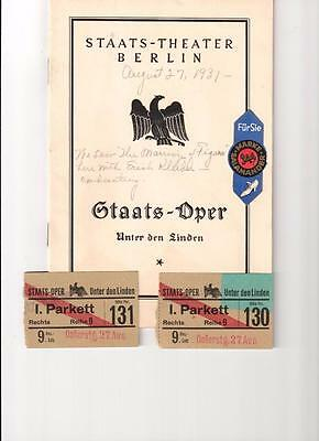 Staats Theater Berlin Oper Unter den Linden 1931 Program and two tickets Germany