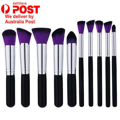 10Pcs Makeup Blush Concealer Eyeshadow Blending Set Contour Cosmetic Brush Tool