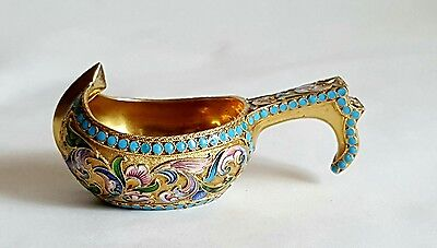 Antique Russian Gilt Silver Shaded Enamel Kovsh