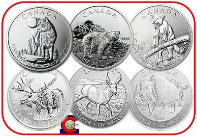 2011-2013 Canada 6-1oz Silver Wolf, Grizzly, Cougar, Moose, Antelope, Bison