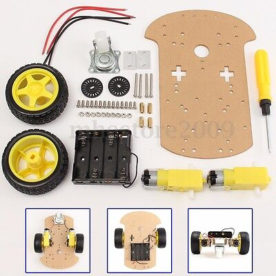 2WD Car Chassis Kit Smart Robot Speed Control Encoder Battery Box For Arduino