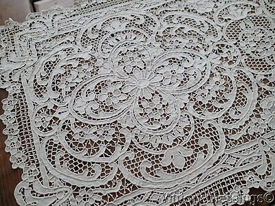 STUNNING Antique Point De Venise LACE Table Runner And 12 Placemats SET