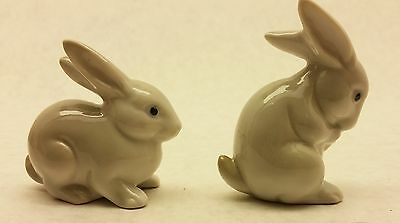 LOT of 2 quality unmarked porcelain RABBIT FIGURINES - EXC CONDITION.  BUNNY