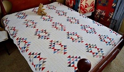 Antique Hand Stitched Flying Geese Quilt Incredible Quilting *