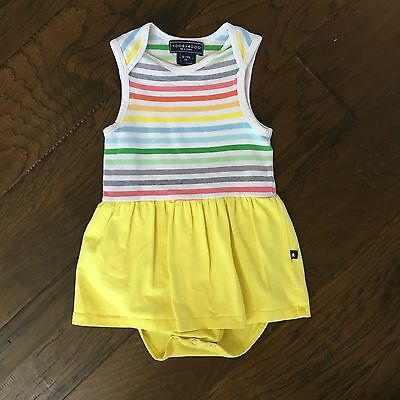 ToobyDoo girls rainbow striped romper dress with yellow skirt size 18/24 months