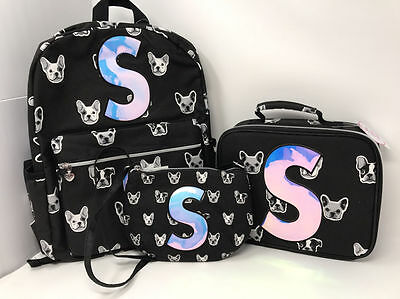 """Justice Girls Puppy Set ~Backpack, Lunch Tote & Purse~ Initial """"S"""" NWT!"""