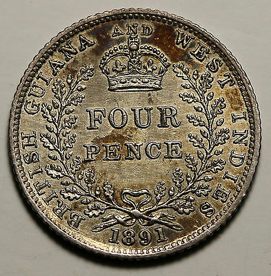1891 British Guiana / Guyana  & West Indies 4 Pence Silver Fourpence  RARE Coin