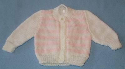 Gorgeous Hand Knitted Baby Girl's Jacket/Cardigan, Size Birth To 4 Months