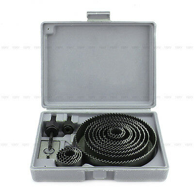 16pcs Hole Saw Cutting Kit Set Metal Circle Drill Wood Alloy 19mm-127mm w/ Case