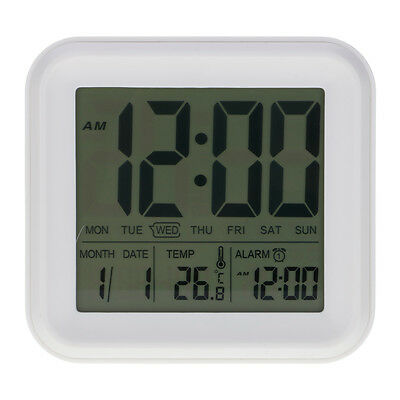 Large LCD Display Light Sensor Smart Alarm Clock with Month Date & Temperature