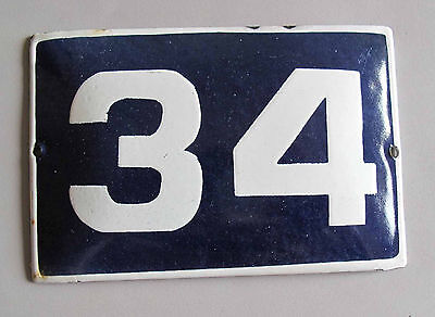 "VINTAGE BLUE  PORCELAIN ENAMEL NUMBER  34  SIGN  - 5,9"" by 3,7"""