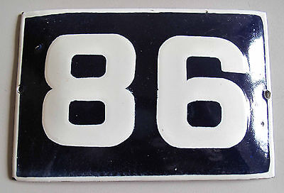 "VINTAGE BLUE  PORCELAIN ENAMEL NUMBER  86  SIGN  - 5,9"" by 3,7"""