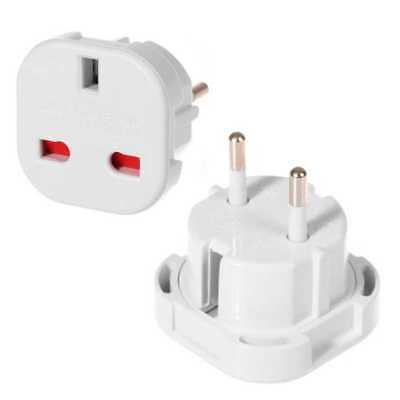 Adaptador Corriente Enchufe UK Reino Unido a Schuko Europeo UE Redondo Blanco
