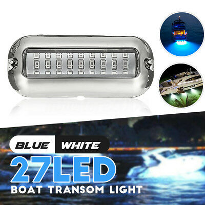 Blue 3.5''W/ 316SS Cover 27 50W 74LM LED Underwater Pontoon Boat Transom Lights