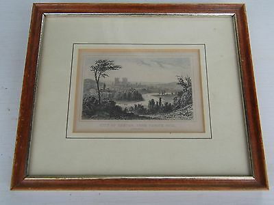 Framed Antique Etching City of Exeter from Exwick Hill circ 1800's