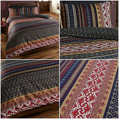 Reversible Modern Indian Moroccan Ethnic Orkney Duvet Quilt Cover Bedding Sets