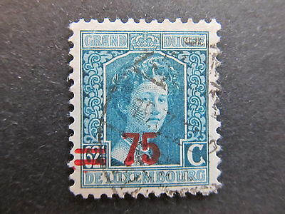 A4P27 Letzebuerg Luxembourg 1916-24 surch 75c on 62 1/2c used #103