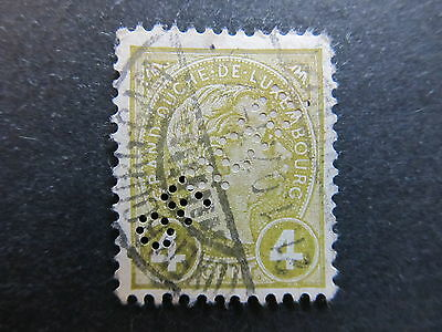 A4P27 Letzebuerg Luxembourg Official Stamp 1895 4c used Perfin #131