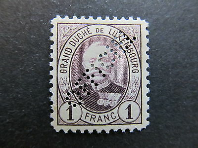 A4P27 Letzebuerg Luxembourg Official Stamp 1891-93 1fr mh* Perfin #132