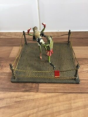 Bronze Boxing Frogs In Boxing Ring Cold Painted Novelty