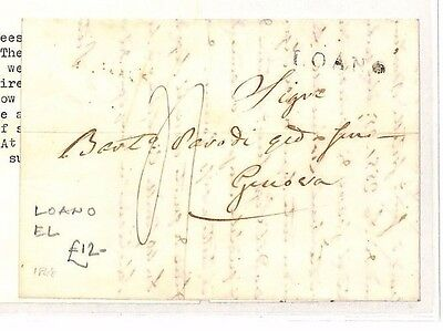1845 ITALY Loano to Genova Entire Letter Cover. With translation