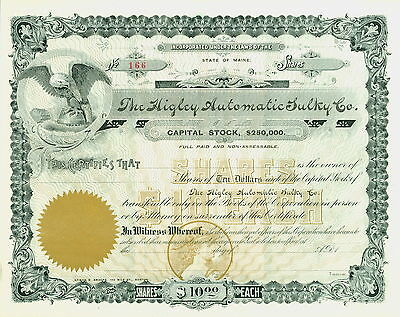 Higby Automatic Sulky Co. Stock Certificate