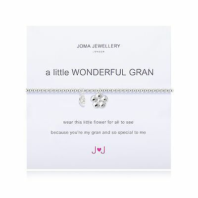 Joma Jewellery a little Wonderful Gran silver flower charm bracelet & gift bag