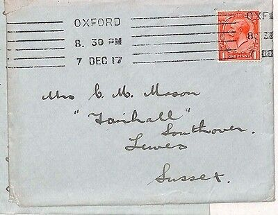 1917 GB Oxford University Lewes Sussex Letter/ Cover