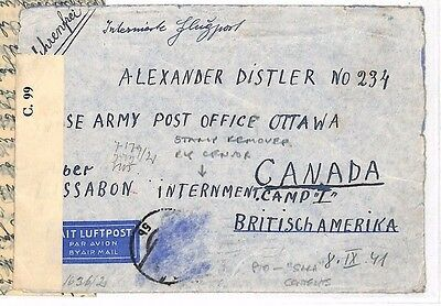 1941 AUSTRIA CANADA INTERNMENT CAMP Stamp Removed by Censor Letter JUDAICA