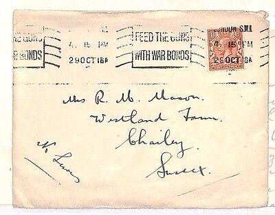 1918 GB Carlyle Club Telegrams London Chailey Sussex Letter/ Cover