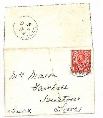 1913 GB Oak Lodge Oxton Surrey Lewes Sussex Letter/ Cover