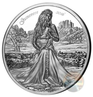 LADY GUINEVERE - THE LEGENDS OF CAMELOT - 2016 2 oz Proof  Silver Silver Coin