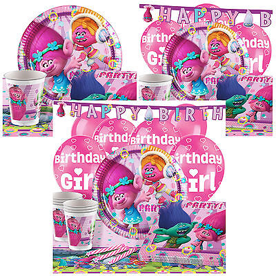 Trolls Complete Birthday Party Pack Tableware Kits - For 8 or 16 Guests