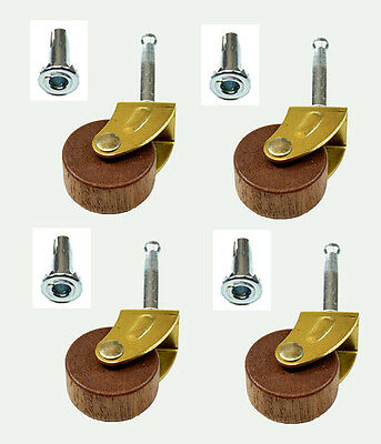 Wood Stem Casters for Antique Furniture with Insert Sockets  (Set of 4)