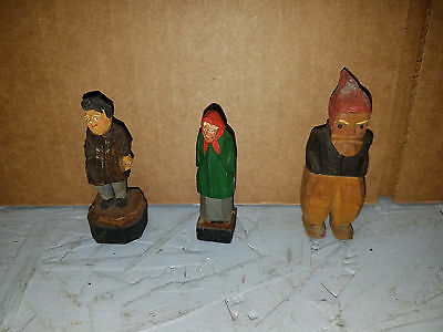 "Vintage Folk Art Hand Carved Wood Old Man and Woman Sculptures "" LOT OF 3 """