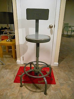 Mid Century Industrial Modern Metal Bar Lab Stool Swivel Fully Adjustable
