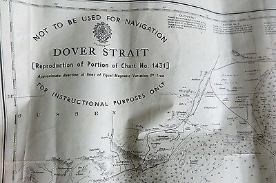 1948 Dover Strait Nautical Admiralty Sea Map Chart, sailing boat
