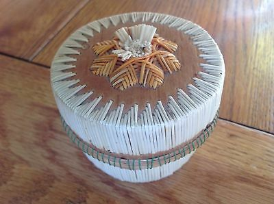 Native American Indian Micmac Quill Decorated Birch Bark Box