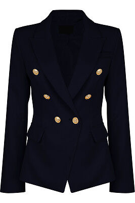 Double Breasted Gold Button Military Style Navy Blue Blazer Ladies Coat Jacket