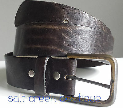 Vintage Distressed HIPSTER Black Top Grain Cowhide Leather Belt Size 34 Mens
