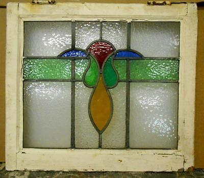 "OLD ENGLISH LEADED STAINED GLASS WINDOW Pretty Floral Design 21.5"" x 18.75"""