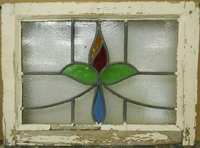 "OLD ENGLISH LEADED STAINED GLASS WINDOW Floral Swag 20.75"" x 15.25"""