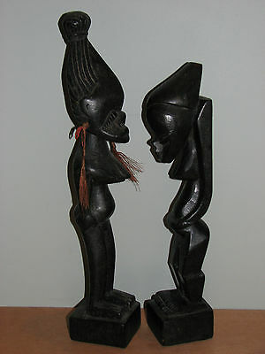 Hand Carved Wooden Fertility Pregnant Couple Statues by Taiwan Aborigine Natives