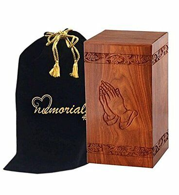 Solid Rosewood Cremation Urn with Hand-Carved Praying Hand Design - Human Ashes