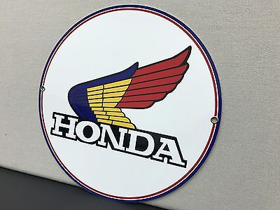 Honda motorcycle vintage Style round sign reproduction blue