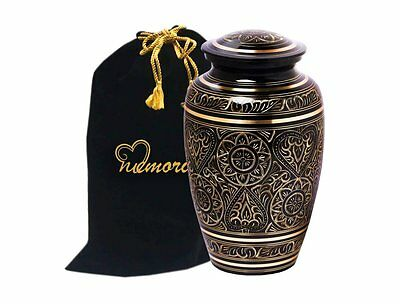 Majestic Radiance Brass Cremation Urn for Human Ashes - Black & Gold