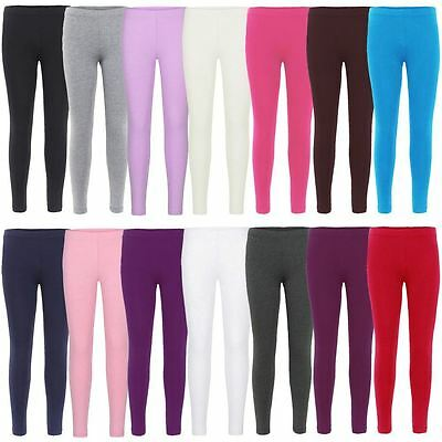 Girls Plain Leggings Kids Children Teen Basic Stretchy Full Length 3-13 Years