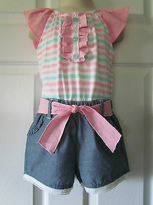 Little Lass Pink Teal White Stripe Blue Toddler Girls One-Piece Outfit Size 2T