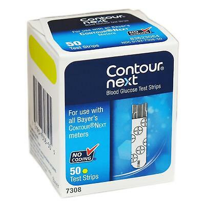 NEW Bayer Contour-Next Blood Glucose Meter Test Strips 50ct No-Coding 7308