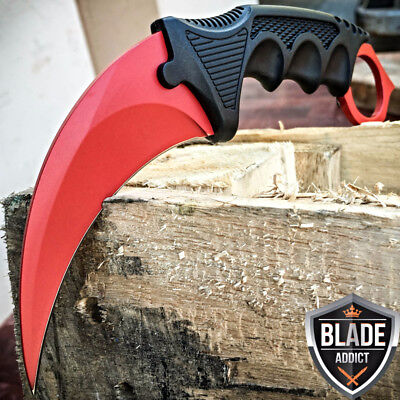 TACTICAL COMBAT KARAMBIT NECK KNIFE Military Hunting BOWIE Fixed Blade RED BLOOD